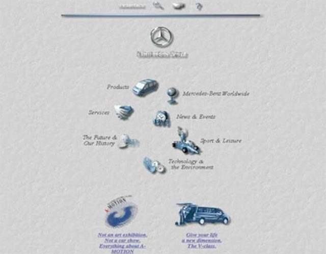 Webové stránky Mercedes-Benz před více jak 20ti lety