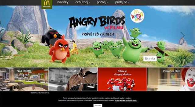 Internetové stránky McDonald dnes