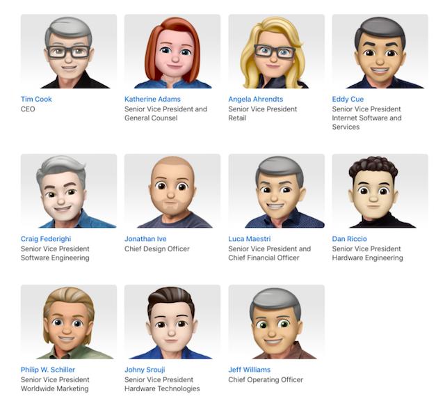 vedení Applu - emoji