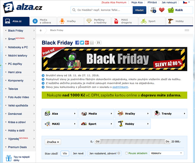 Black Friday Alza.cz