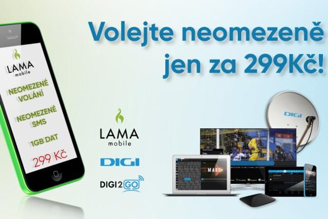 Neomezený tarif s1 GB dat kDIGI TV za 299 Kč