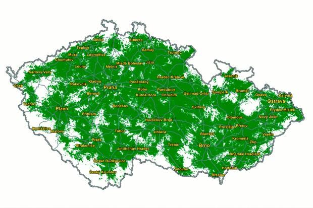 Mapa mobilního pokrytí broadbandem od ČTÚ