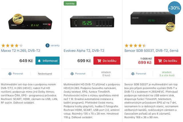 Levné DVB-T2 set-top boxy jsou znovu k dostání