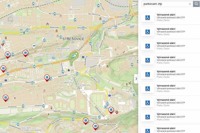 Mapy.cz nově zobrazují parkovací místa pro zdravotně postižené
