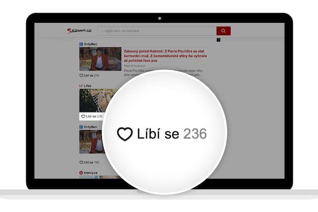 Na domovské stránce Seznam.cz můžete nově lajkovat články