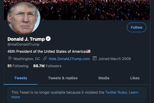 Sociální sítě Twitter, Instagram a Facebook zablokovaly Trumpovy účty