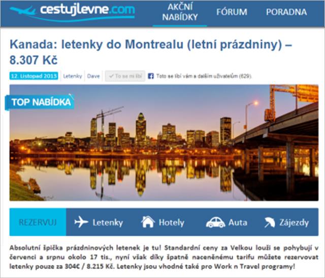 Cestujlevne.cz nabízí každý den zajímavé tipy na letenky