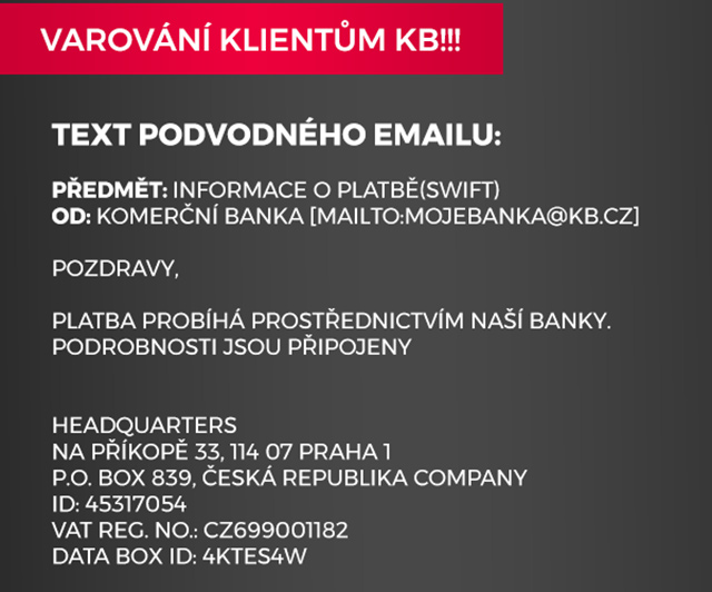Podvodné e-maily KB