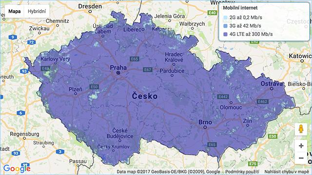 Mapa pokrytí O2 - mobilní internet