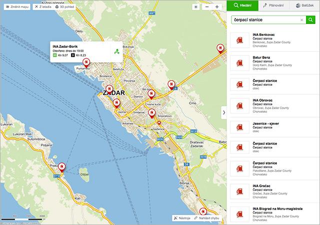 Mapy.cz čerpací stanice