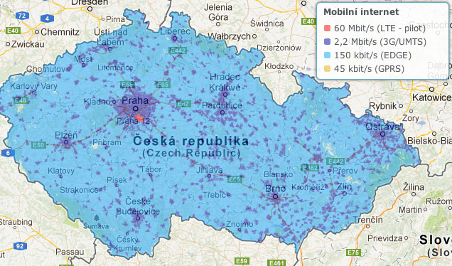 Mapa pokrytí 3G O2