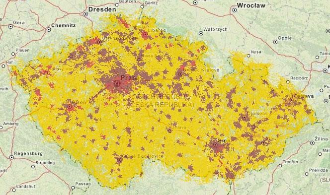 Mapa pokrytí 3G Vodafone