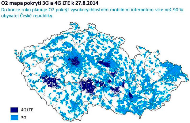 Mapa pokrytí 4G LTE O2