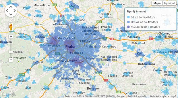 Mapa pokrytí 4G LTE O2 6/2014