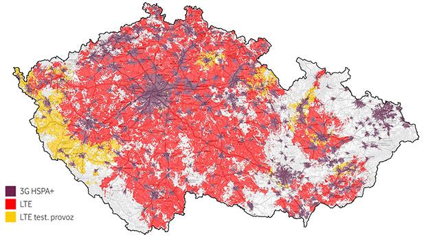 Mapa pokrytí Vodafone září 2014