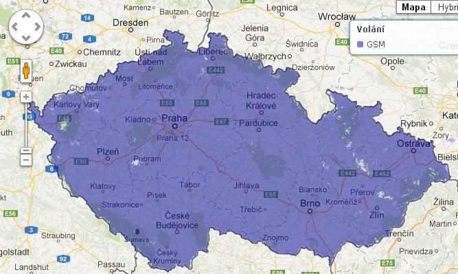 Mapa pokrytí O2