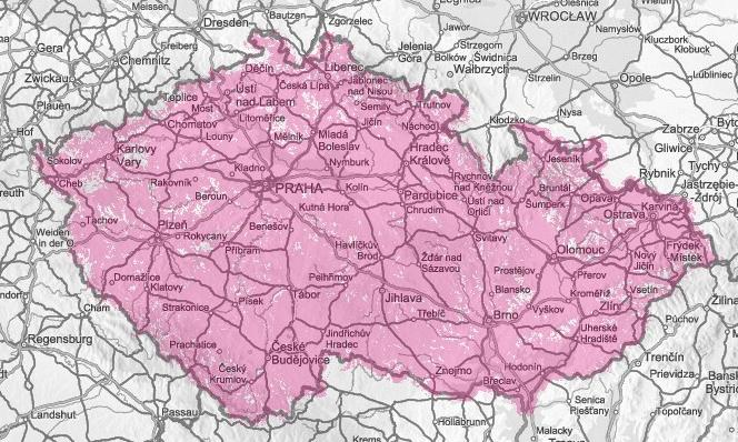 Mapa pokrytí T-Mobile