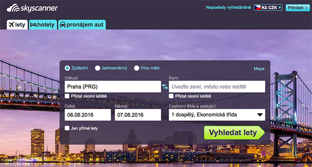 Vyhledávač skyscanner.cz
