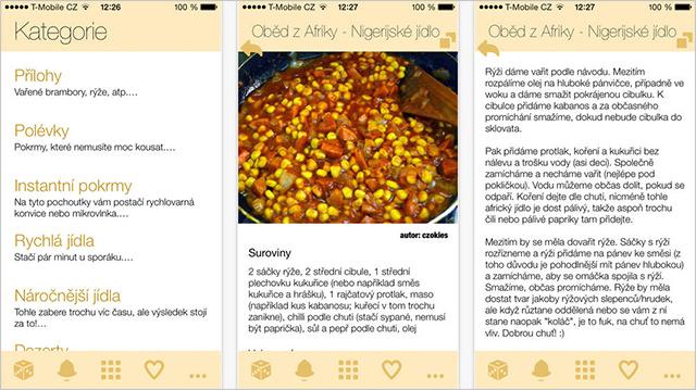 Aplikace Studentská kuchařka
